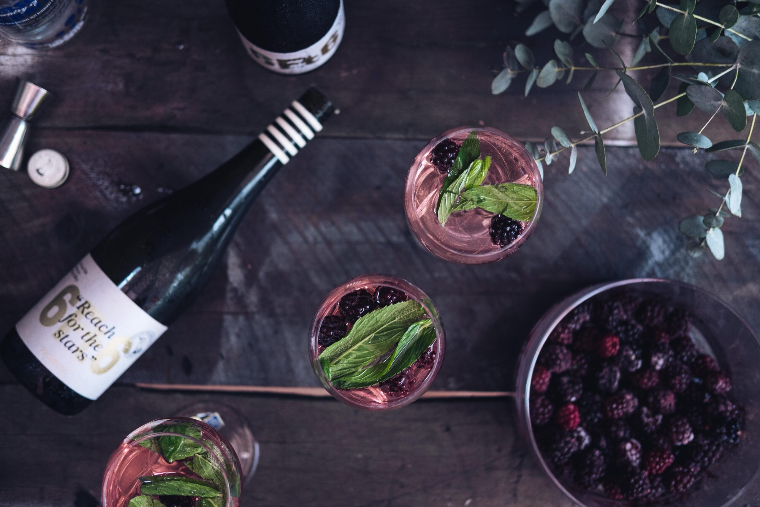 Wine and beverages flat lay